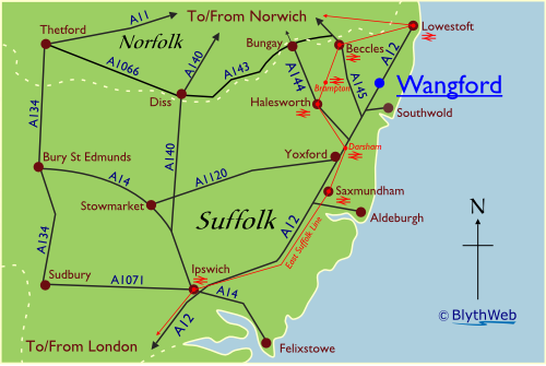 Location of Wangford in Suffolk